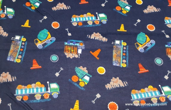 Flannel Fabric - Construction Tossed Navy - By the yard - 100% Cotton Flannel