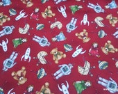 Christmas Premium Flannel Fabric - Christmas Joys Toys on Red Premium  - By the yard - 100% Cotton Flannel