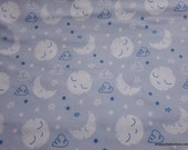 Flannel Fabric - Sleepy Moon and Stars Gray Blue - By the yard - 100% Cotton Flannel