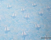 Flannel Fabric - Itty Bittys Tossed Sailboats Blue - By the yard - 100% Cotton Flannel