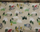 Flannel Fabric - Watercolor Camping Dinos - By the yard - 100% Cotton Flannel