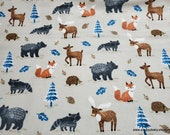 Flannel Fabric - Baby Forest Animals - By the yard - 100% Cotton Flannel