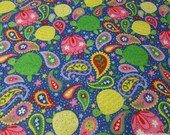 Flannel Fabric - Paisley Turtles - By the yard - 100% Cotton Flannel