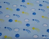 Flannel Fabric - Stars and Clouds - By the yard - 100% Cotton Flannel