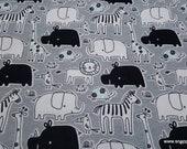 Flannel Fabric - Gray Blue Safari - By the yard - 100% Cotton Flannel
