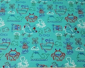 Flannel Fabric - Sailor Sam and Friends - By the yard - 100% Cotton Flannel