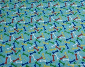Flannel Fabric - Bright Bones - By the yard - 100% Cotton Flannel