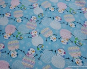 Christmas Flannel Fabric - Happy Pattern Trap Snowmen - By the yard - 100% Cotton Flannel