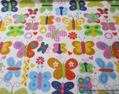 Flannel Fabric - Girlie Butterflies - By the yard - 100% Cotton Flannel