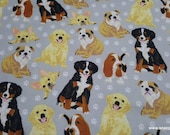 Flannel Fabric - Realistic Pups on Gray - By the yard - 100% Cotton Flannel