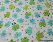 Flannel Fabric - Frogs Ribbit - By the yard - 100% Cotton Flannel