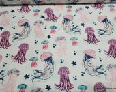 Flannel Fabric - Endless Summer Jellyfish - By the yard - 100% Cotton Flannel