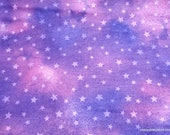 Flannel Fabric - Stars on Purple Watercolor - By the yard - 100% Cotton Flannel