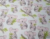 Flannel Fabric - Sweet Koala - By the yard - 100% Cotton Flannel