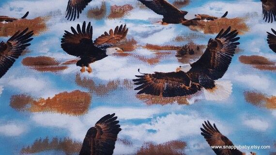 Flannel Fabric - Soaring Eagles - By the Yard - 100% Cotton Flannel