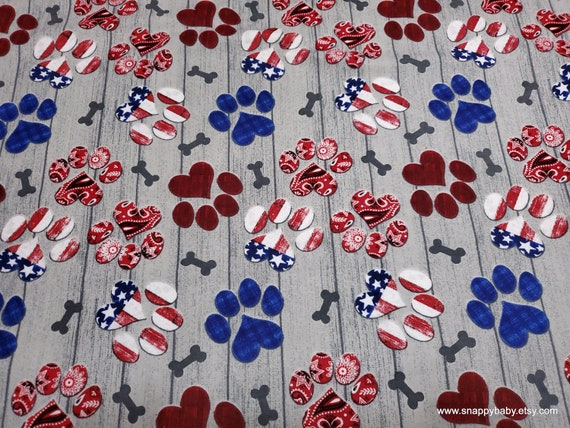 Flannel Fabric - USA Dog Paws - By the yard - 100% Cotton Flannel
