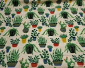 Flannel Fabric - Houseplants - By the yard - 100% Cotton Flannel