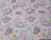 Flannel Fabric - Sleepy Bear Dreams Pink Purple - By the yard - 100% Cotton Flannel