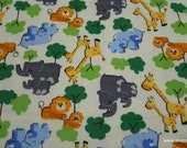 Flannel Fabric - Zoo Animals - By the yard - 100% Cotton Flannel