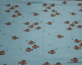 Flannel Fabric - Go Fish Clownfish - By the yard - 100% Cotton Flannel