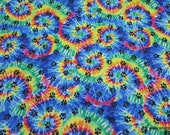 Flannel Fabric - Paw Prints on Tie Dye - By the yard - 100% Cotton Flannel