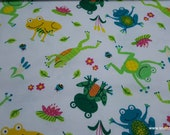 Flannel Fabric - Leap Frog - By the Yard - 100% Cotton Flannel