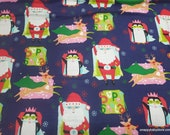 Christmas Flannel Fabric - Super Santa - By the yard - 100% Cotton Flannel