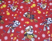 Christmas Character Flannel Fabric - Paw Patrol Christmas - By the yard - 100% Cotton Flannel