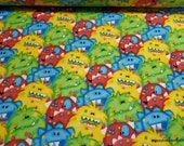 Flannel Fabric - Multi Monster Mash - By the yard - 100% Cotton Flannel
