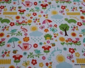 Flannel Fabric - Bloom Where You're Planted April Showers White - By the yard - 100% Cotton Flannel