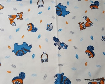 Flannel Fabric - Folk Creatures  - By the yard - 100% Cotton Flannel