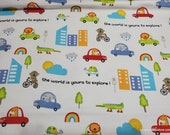 Flannel Fabric - Animals in Cars Main - By the yard - 100% Cotton Flannel