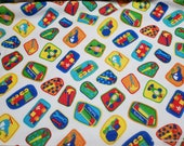 Flannel Fabric - Tools and Toys on White - By the yard - 100% Cotton Flannel