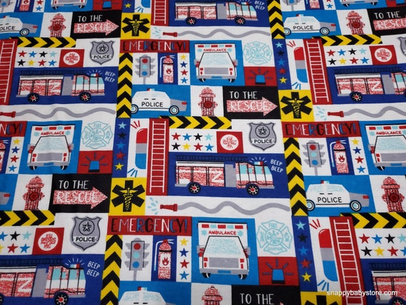 Flannel Fabric - Things That Go Block - By the yard - 100% Cotton Flannel