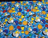Flannel Fabric - Royal Sports - By the yard - 100% Cotton Flannel