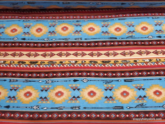 Flannel Fabric - Southwest Stripe Aqua - By the yard - 100% Cotton Flannel
