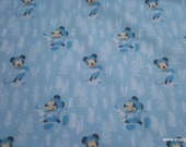 Flannel Fabric - Disney Little Meadow Mickey Mouse Blue - By the yard - 100% Cotton Flannel