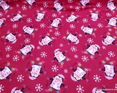 Christmas Flannel Fabric - Penguins Skiing Pink - By the yard - 100% Cotton Flannel