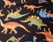 Flannel Fabric - Real Dinos on Black - By the yard - 100% Cotton Flannel