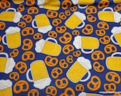 Flannel Fabric - Beer and Pretzels on Blue - By the yard - 100% Cotton Flannel
