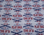 Flannel Fabric - Play Ball on Gray - By the yard - 100% Cotton Flannel