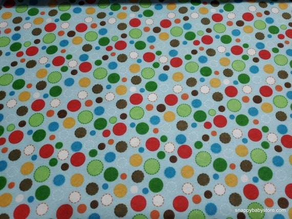 Flannel Fabric - Multi Circles on Blue - By the yard - 100% Cotton Flannel