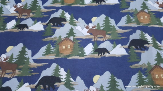 Flannel Fabric - Cabin Scene Navy - By the yard - 100% Cotton Flannel