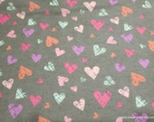 Flannel Fabric - Sketch Hearts on Gray - By the yard - 100% Cotton Flannel