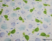 Flannel Fabric - Watercolor Sea Life - By the yard - 100% Cotton Flannel
