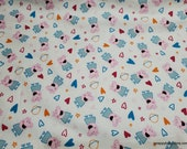 Character Flannel Fabric - Peppa Pig Heart Toss - By the yard - 100% Cotton Flannel