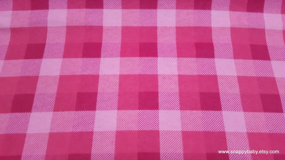 Flannel Fabric - Pink Tri Buffalo Check - By the yard - 100% Cotton Flannel