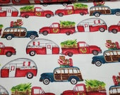 Christmas Flannel Fabric - Christmas Trucks and Campers - By the Yard - 100% Cotton Flannel