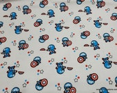 Character Flannel Fabric - Marvel Captain America on White - By the yard - 100% Cotton Flannel