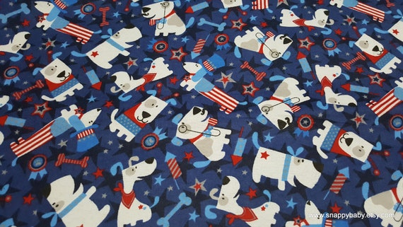Flannel Fabric - Patriotic Pups - By the yard - 100% Cotton Flannel